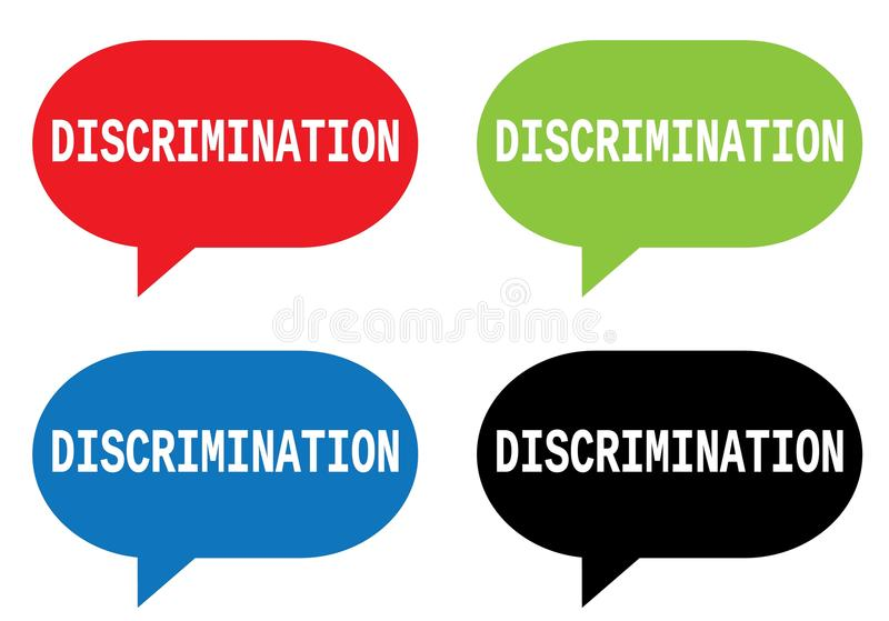 DISCRIMINATION text, on rectangle speech bubble sign. DISCRIMINATION text, on rectangle speech bubble sign, in color set royalty free illustration