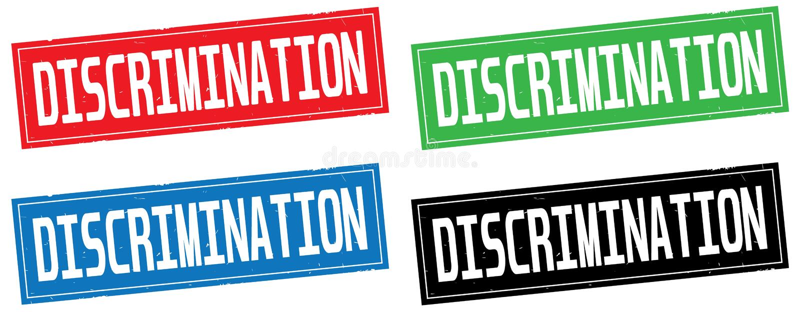 DISCRIMINATION text, on rectangle stamp sign. DISCRIMINATION text, on rectangle stamp sign, in color set royalty free illustration