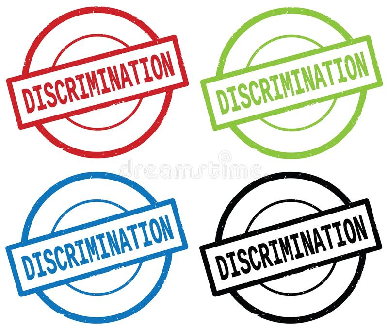 DISCRIMINATION text, on round simple stamp sign. DISCRIMINATION text, on round simple stamp sign, in color set royalty free illustration