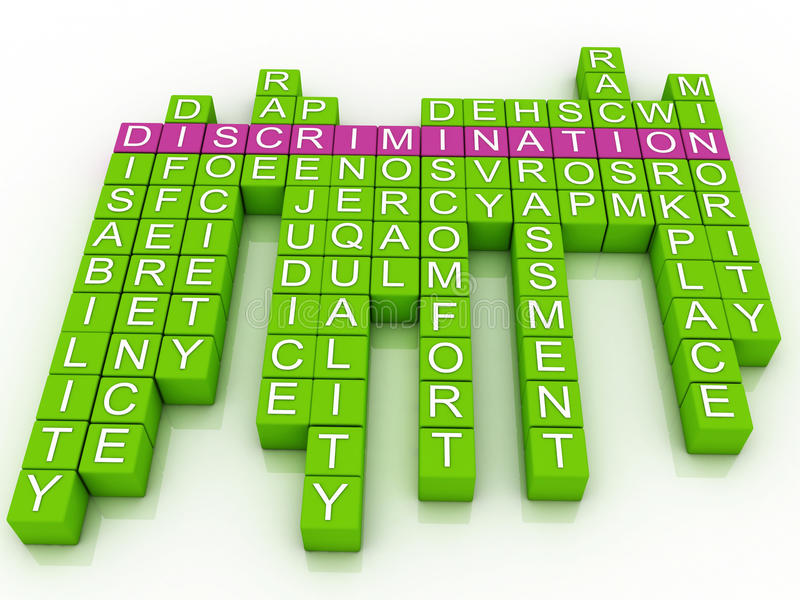Discrimination in word cloud royalty free illustration