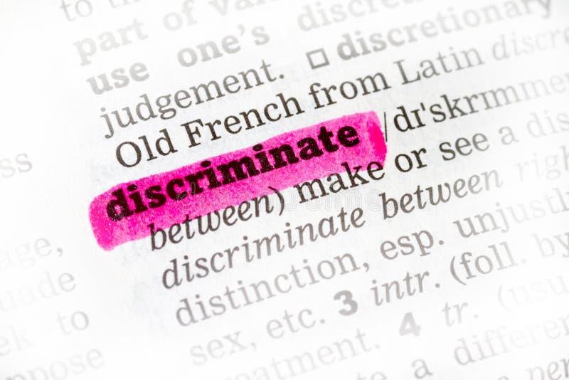 Discrimini la definizione di dizionario fotografie stock libere da diritti