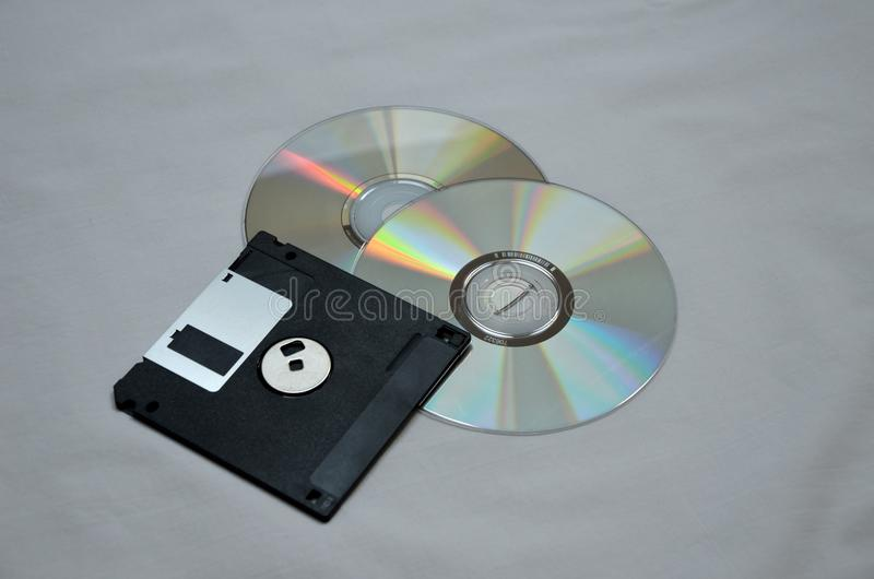 Discs and diskette stock images