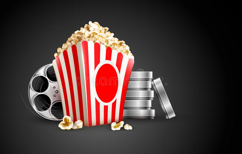 Discs with film tape reel and popcorn vector illustration