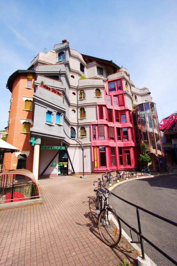 Disctrict de Schtroumpfs, Genebra, Switzerland imagem de stock