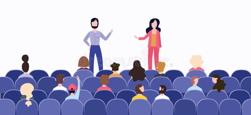 Discurso antes de uma grande audiência no salão na fase ilustração do vetor