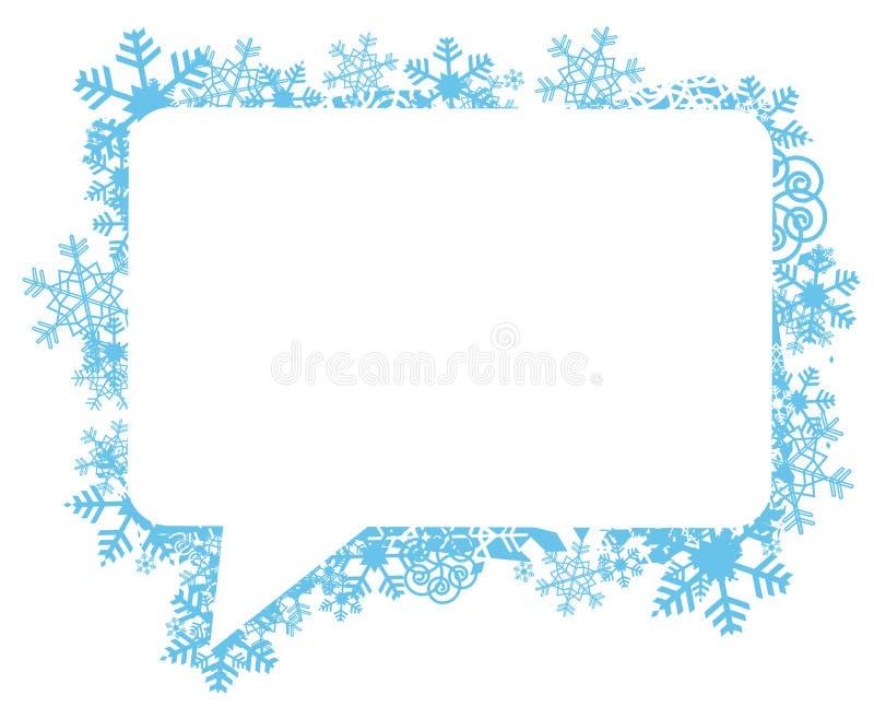 Discurso buble con los copos de nieve stock de ilustración