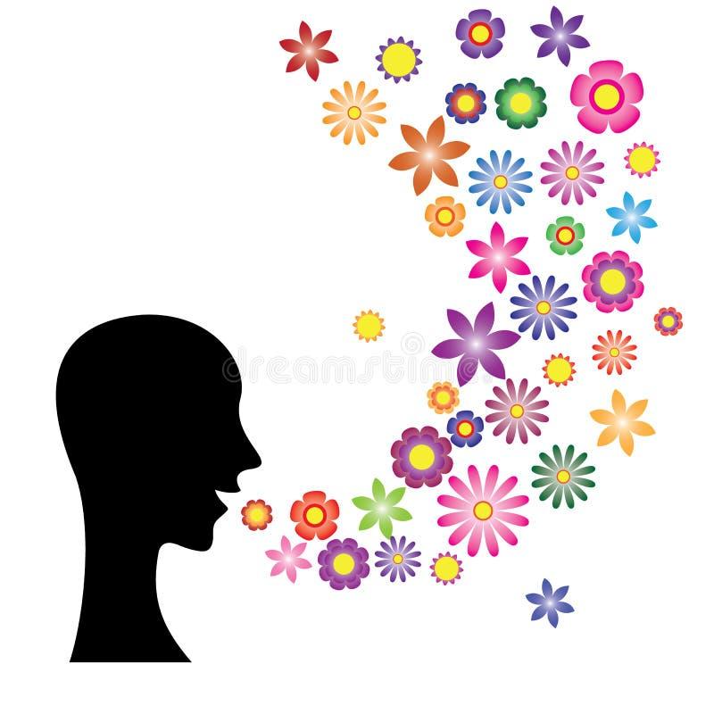 Discurso com a língua da flor ilustração do vetor