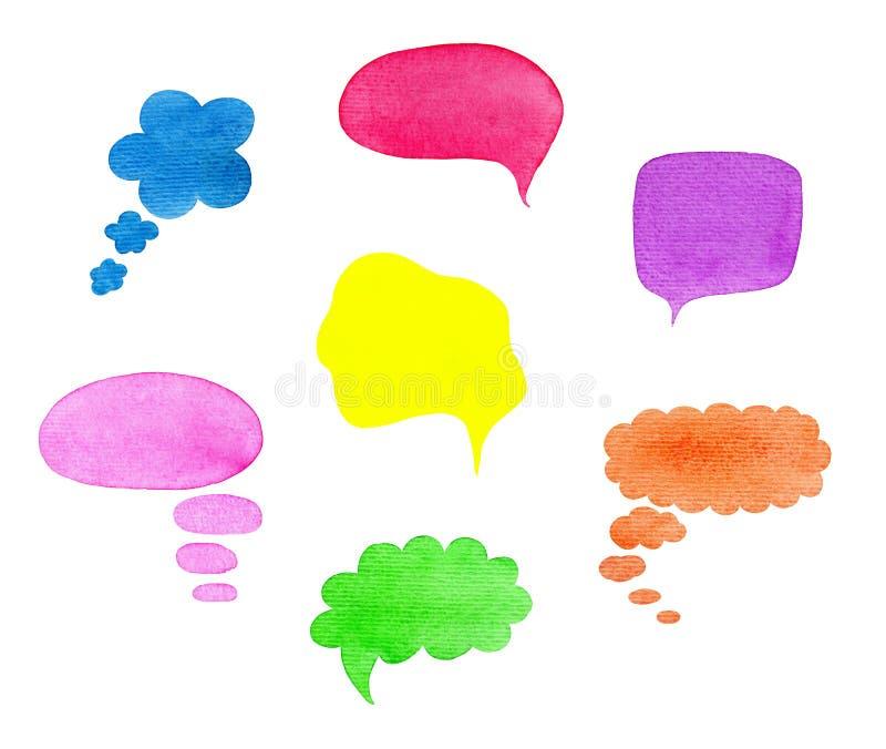 Discurso da aquarela, diálogo, nuvens do pensamento, bolhas e outros shas ilustração do vetor