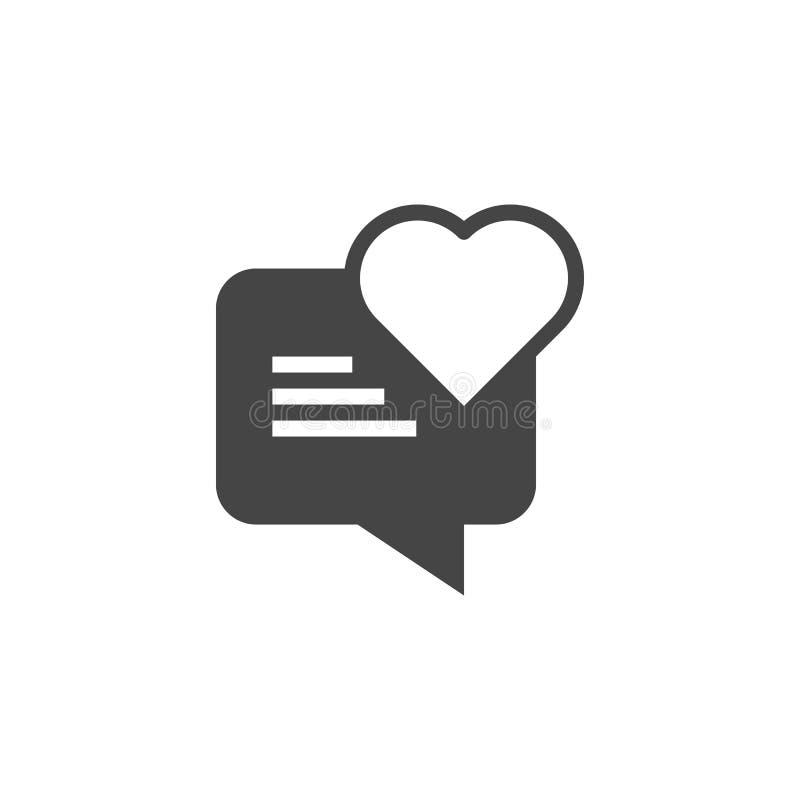 Discurso da bolha com ícone do glyph do coração Etiqueta para o bate-papo do amor em redes sociais, datando locais, apps e mensag ilustração do vetor