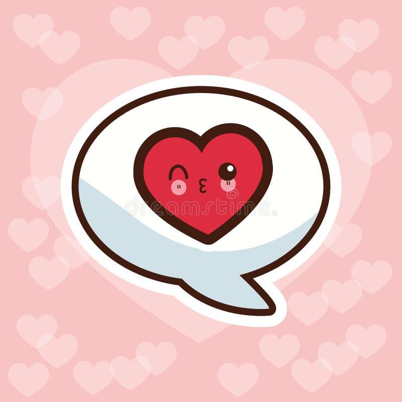 discurso de la burbuja del amor del kawaii ilustración del vector