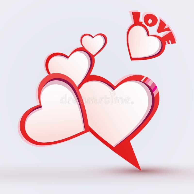 Discurso de la burbuja del día de tarjetas del día de San Valentín ilustración del vector
