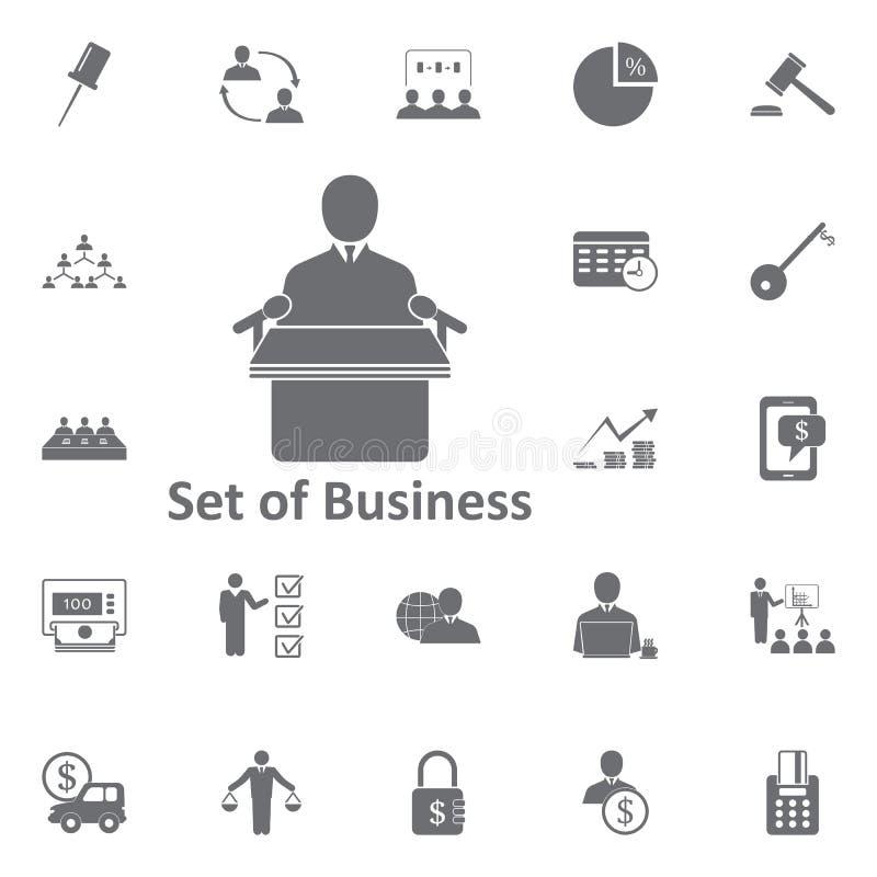 Discurso del icono de la tribuna Ejemplo simple del elemento Negocios ilustración del vector