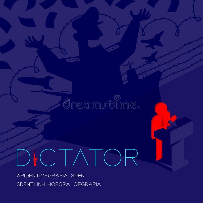 Discurso del pictograma del hombre de la sombra del dictador con el podio isométrico, dictadura detrás del ejemplo del diseño de  stock de ilustración