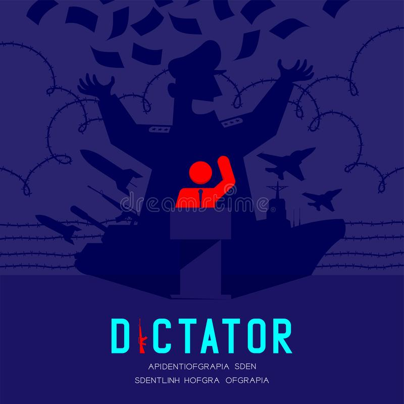 Discurso del pictograma del hombre de la sombra del dictador con el podio isométrico, dictadura detrás del ejemplo del diseño de  ilustración del vector