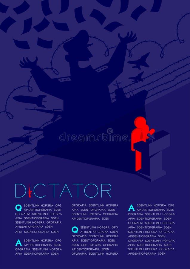 Discurso del pictograma del hombre de la sombra del dictador con el podio isométrico, dictadura detrás del ejemplo del diseño de  libre illustration