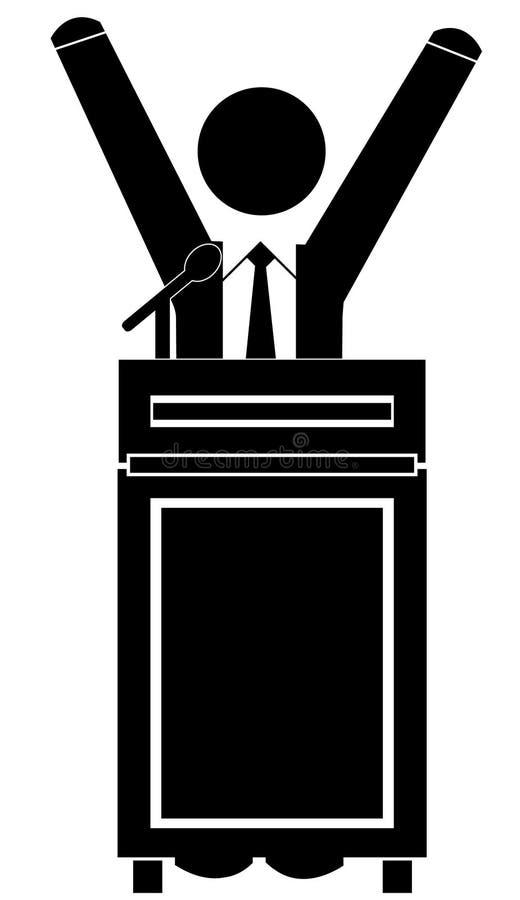 Discurso do negócio no pódio ilustração do vetor