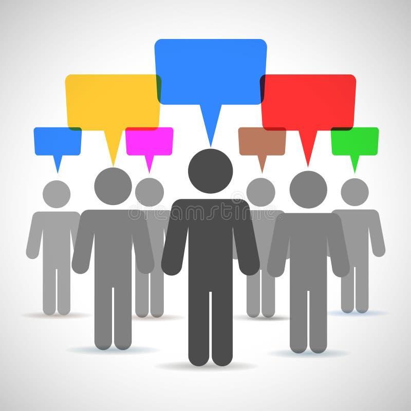 Discurso dos povos, discussão, conceituando ilustração do vetor