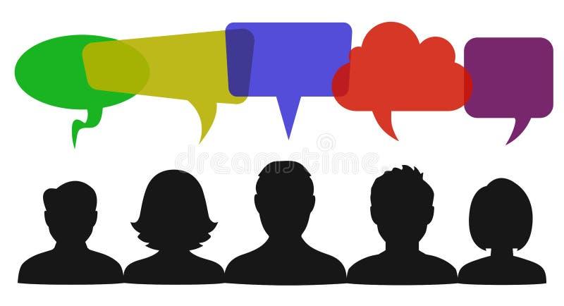 Discurso dos povos, sinal de uma comunicação - ilustração stock