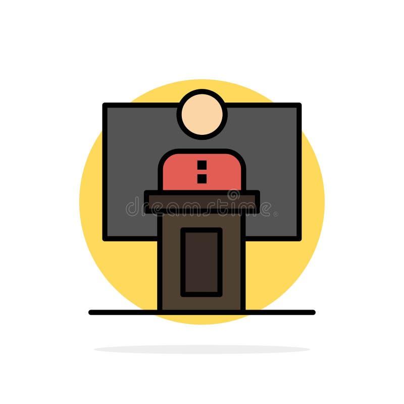 Discurso, negócio, conferência, evento, apresentação, sala, ícone liso da cor do fundo do círculo do sumário do orador ilustração do vetor
