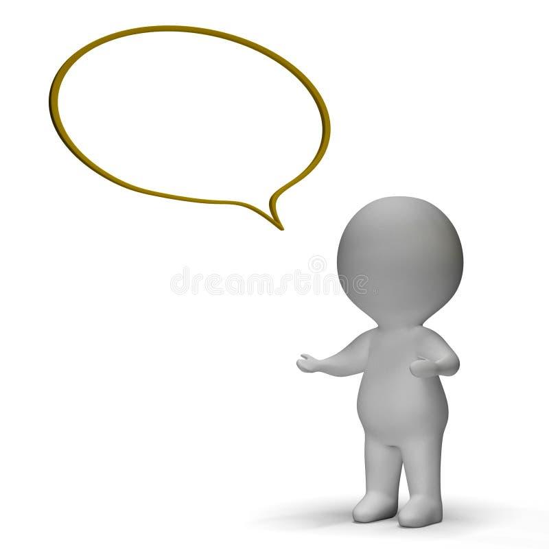 Discurso ou anúncio da bolha do discurso e do significado do caráter 3d ilustração stock