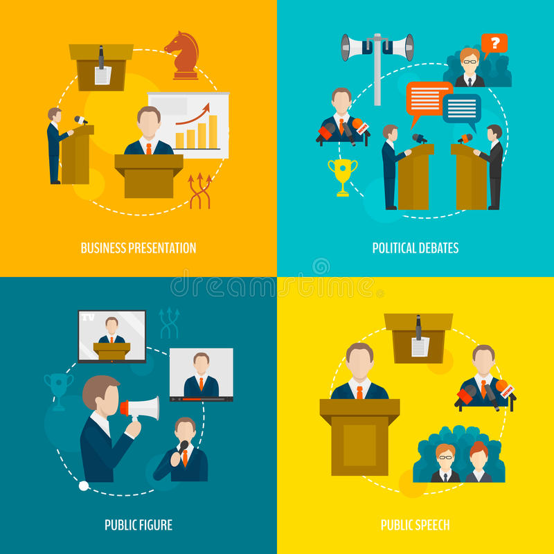 Discurso público ajustado horizontalmente ilustração stock