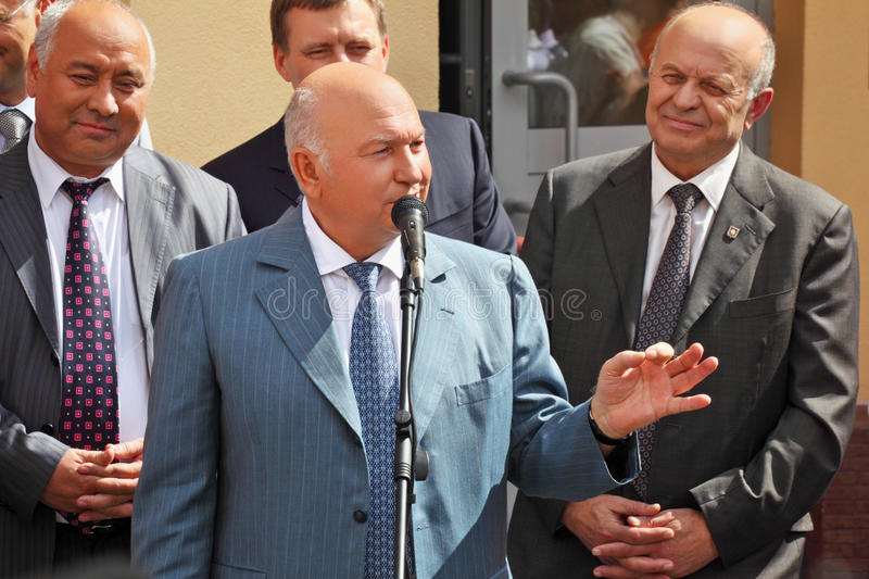 Discurso público do mayor Luzhkov imagem de stock