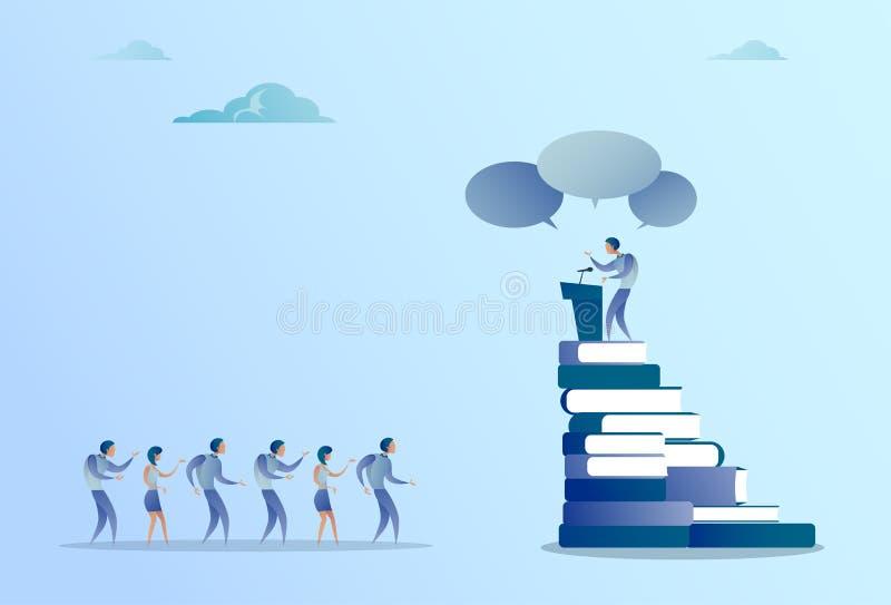 Discurso principal da tribuna do homem de negócio no seminário da reunião de Front Of Businesspeople Group Conference ilustração stock