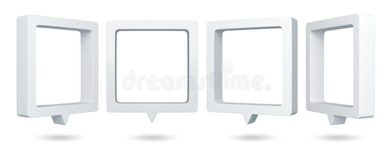 discurso quadrado das bolhas 3D ilustração do vetor