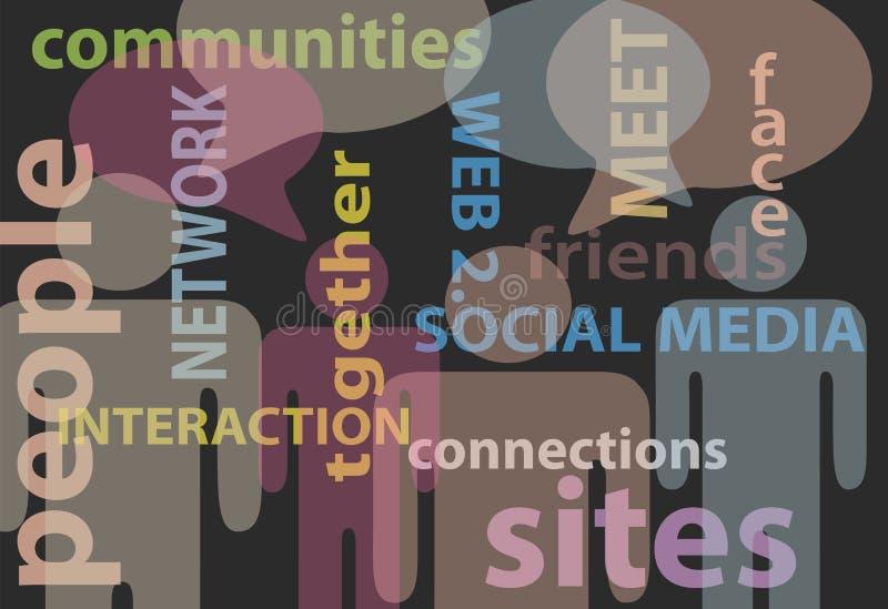 Discurso social de uma comunicação da rede dos media dos povos ilustração do vetor