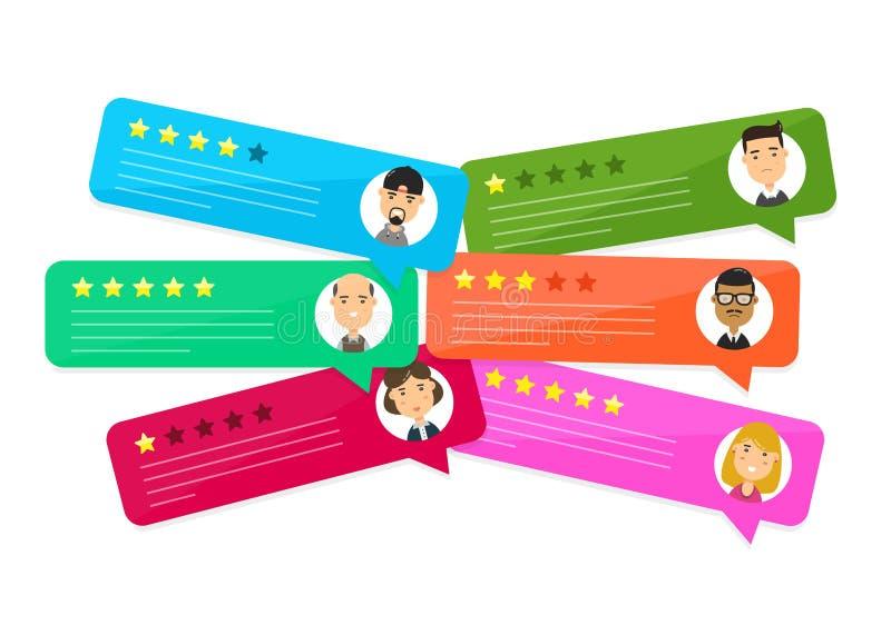Discursos da bolha da avaliação da revisão Vetor ilustração do vetor