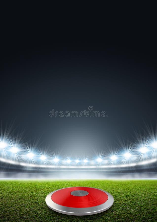 Discus in Generisch Met schijnwerpers verlicht Stadion vector illustratie