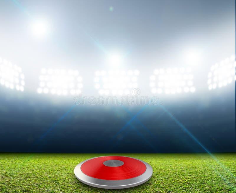 Discus in Generisch Met schijnwerpers verlicht Stadion stock illustratie