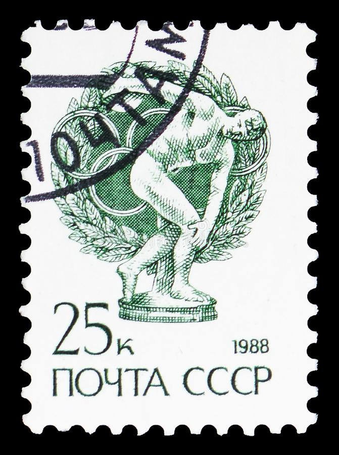 The Discus-thrower, 5th Century Greek Statue by Miron, Definitive Issue No. 13 serie, circa 1988. MOSCOW, RUSSIA - MAY 25, 2019: Postage stamp printed in Soviet royalty free stock photos