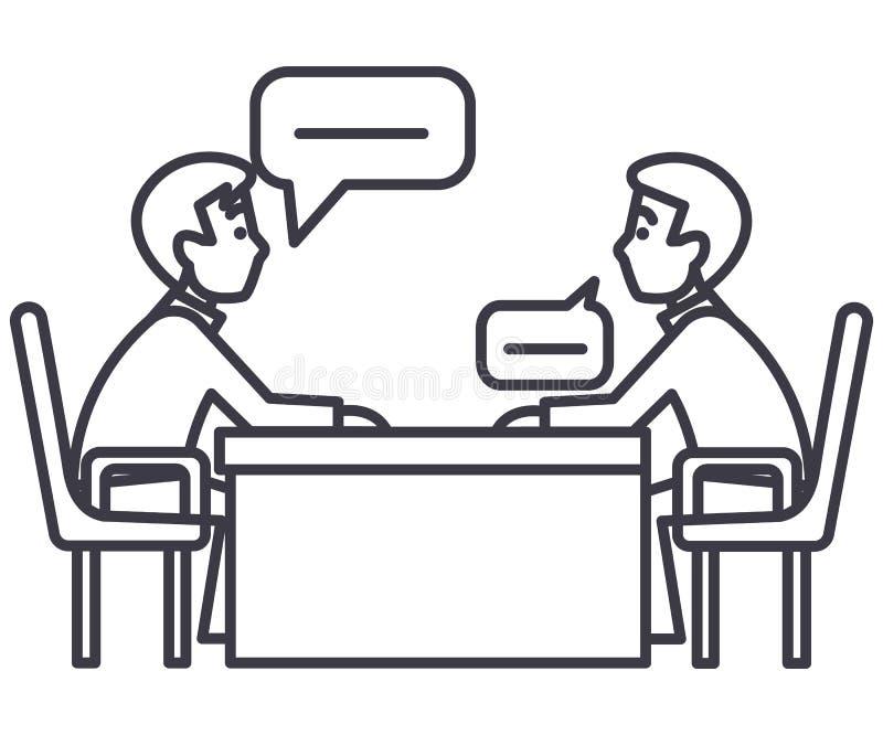 Discusión de dos socios, entrevista, preguntando, línea icono, muestra, ejemplo del vector del examen en fondo libre illustration