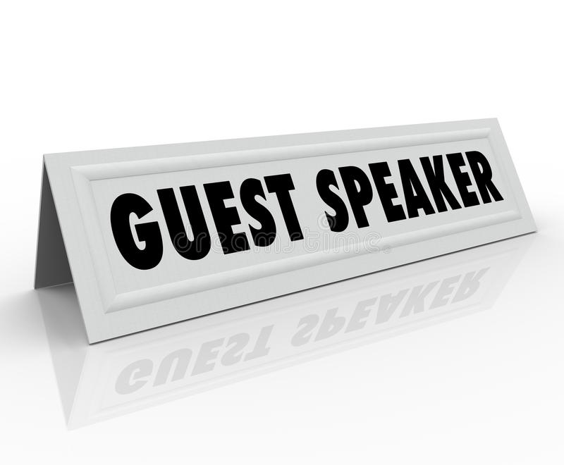Discusión del panel de la presentación de la tarjeta de la tienda del nombre del Presidente de huésped stock de ilustración