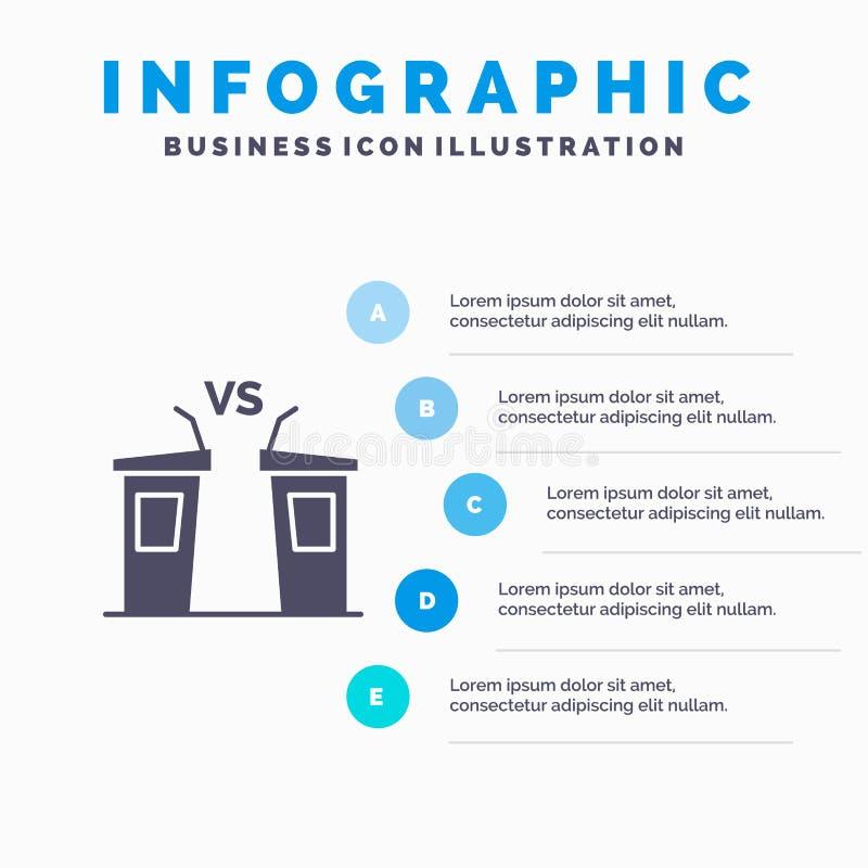 Discusión, democracia, elección, político, fondo sólido de la presentación de los pasos de Infographics 5 del icono del President ilustración del vector