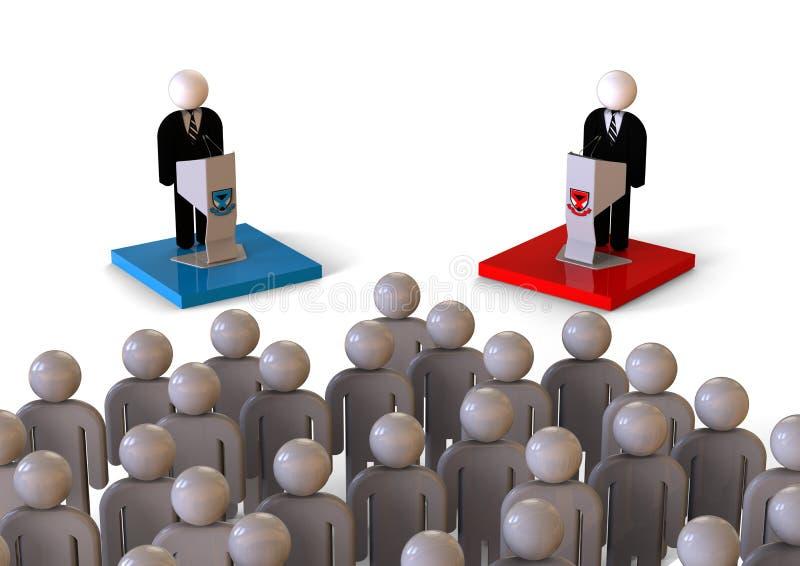 Discusión político delante de un concepto de la muchedumbre ilustración del vector
