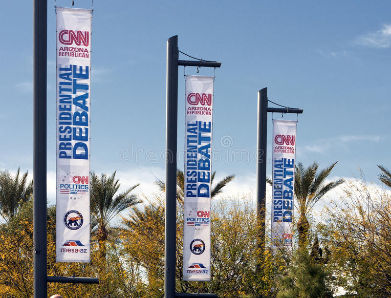 Discusión presidencial republicano 2012 del CNN imagen de archivo libre de regalías