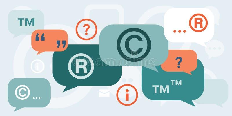 Discusión sobre los derechos reservados stock de ilustración