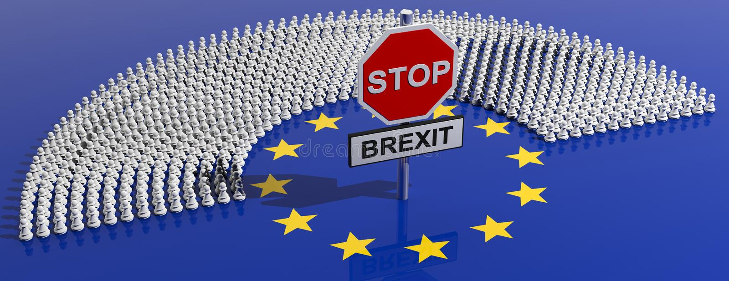 Discusiones de Brexit de la parada Muestra roja de la parada con la PARADA BREXIT del texto en fondo del parlamento de la UE ilus libre illustration