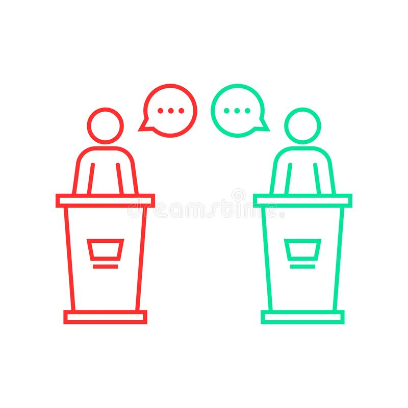 Discusiones entre los candidatos stock de ilustración