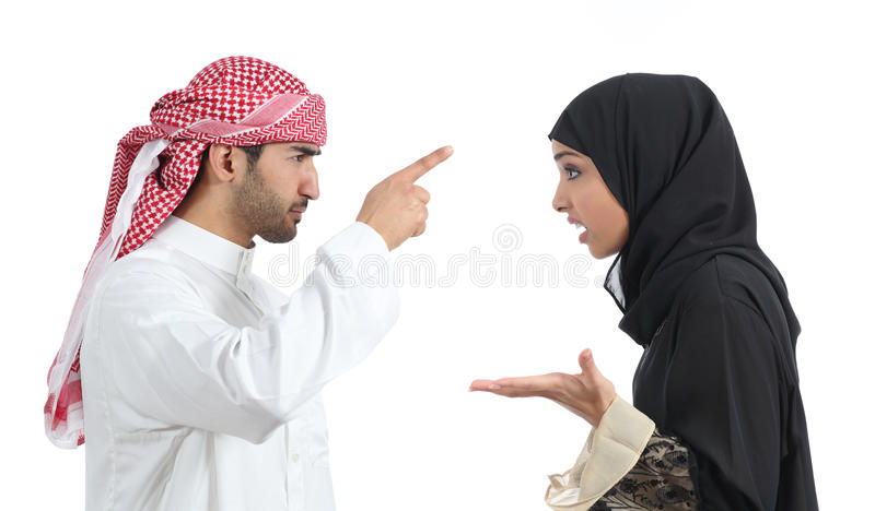 Discussão árabe dos pares irritada foto de stock royalty free