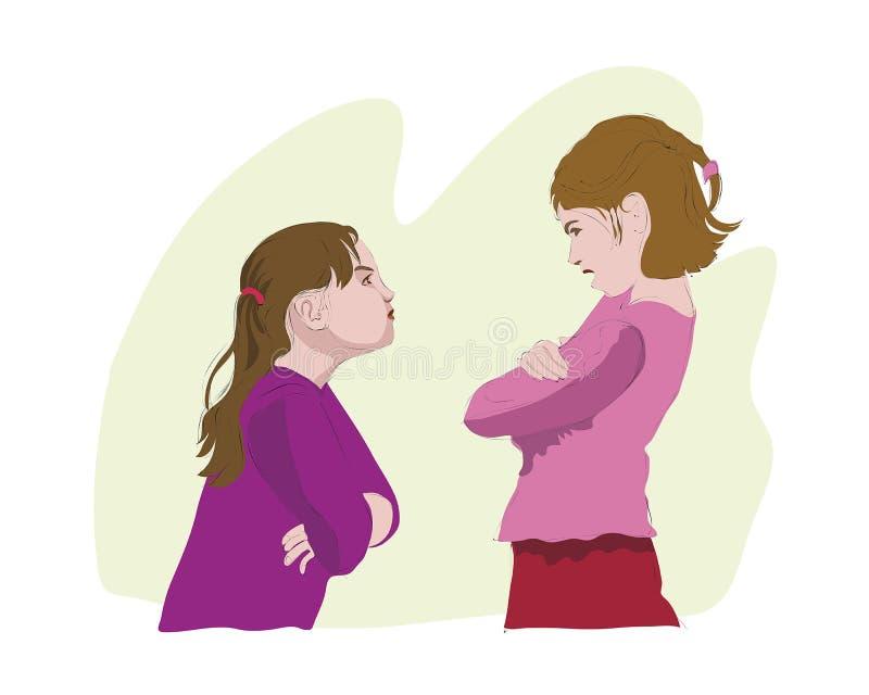 A discussão de duas meninas ilustração stock
