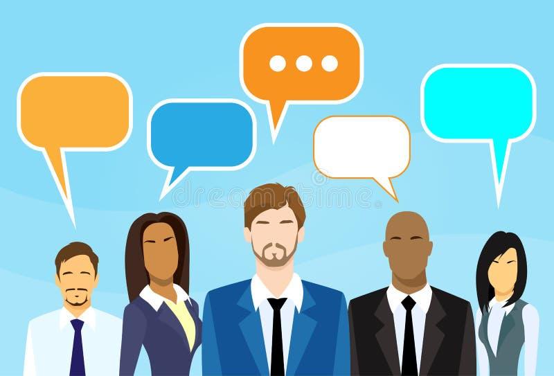 Discussão de fala do grupo dos povos dos desenhos animados do negócio ilustração do vetor