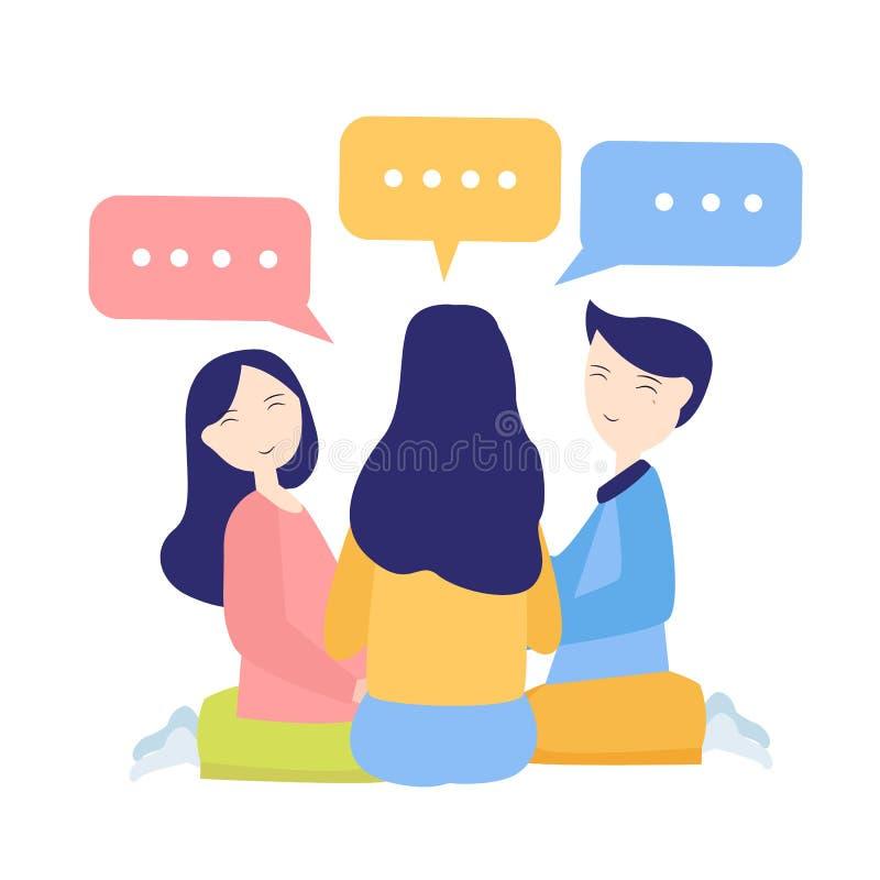 A discussão entre o amigo ou os colegas de trabalho fala a bisbolhetice Colegas que conceituam tendo a fêmea masculina da convers ilustração do vetor