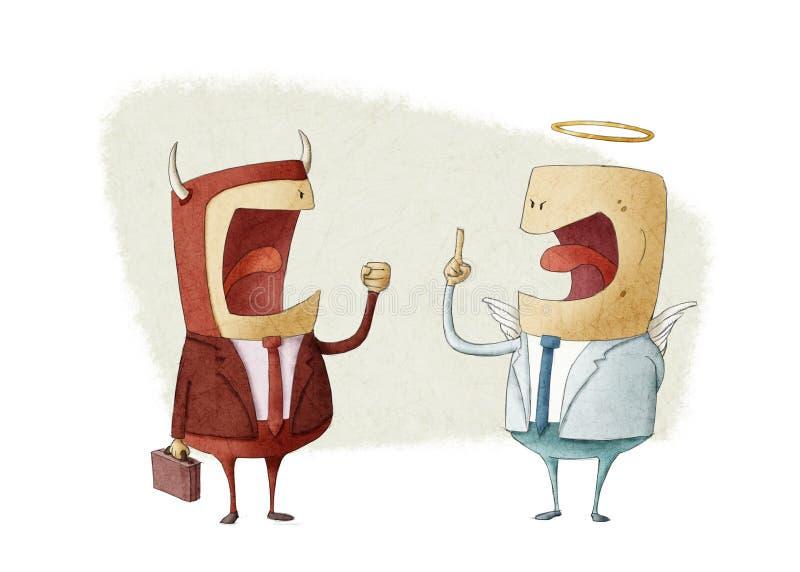 Discussão entre o homem de negócios do anjo e o homem de negócios do demônio ilustração stock
