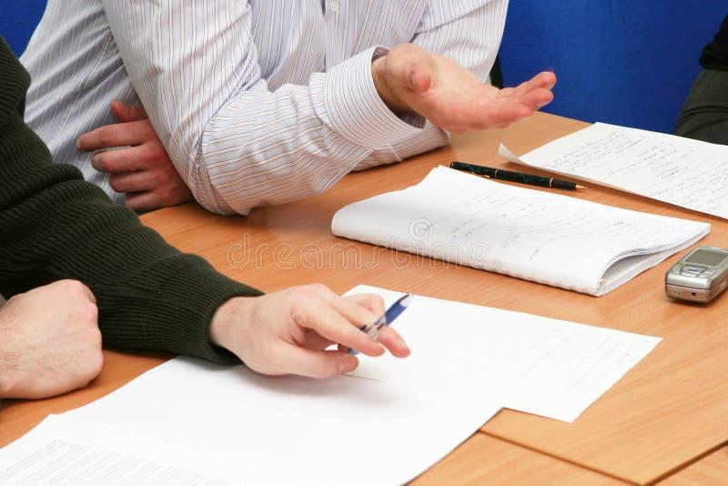 Discussão na reunião fotografia de stock