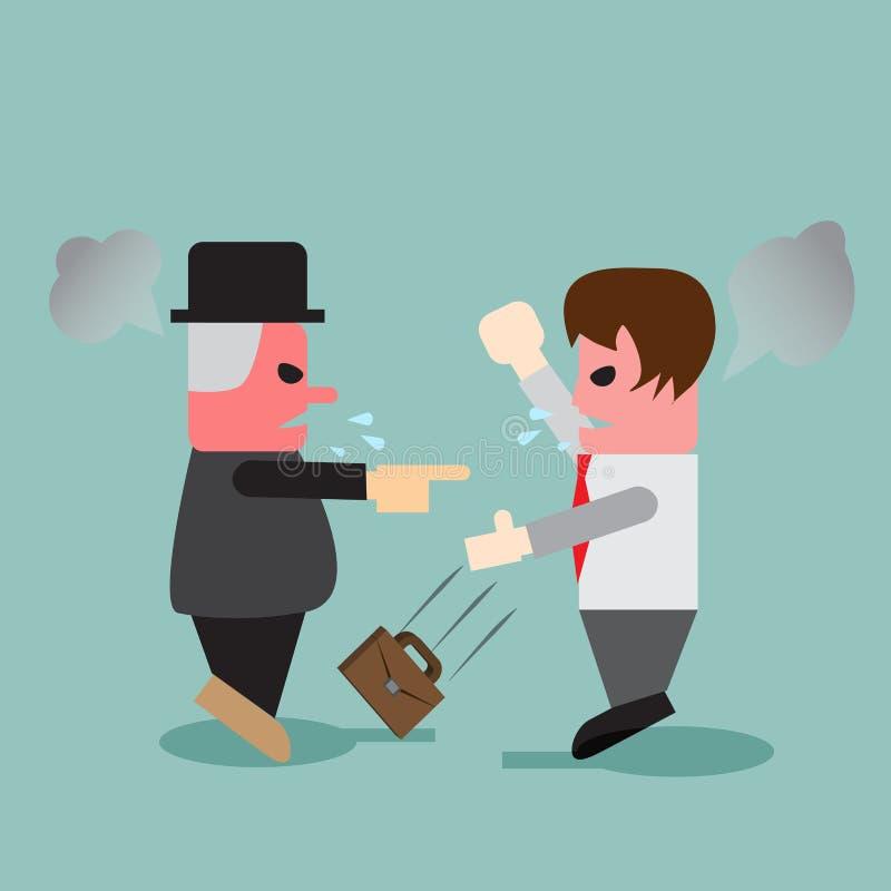 Discussão nova do homem de negócio com seu chefe ilustração royalty free