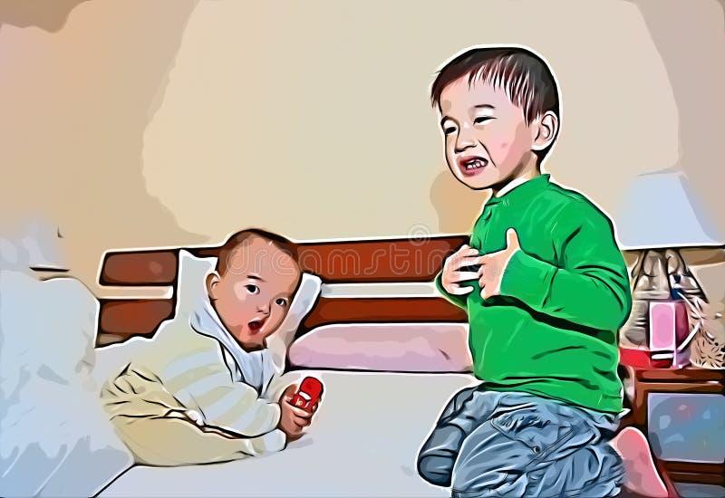 Discussão sobre crianças confinadas ilustração stock