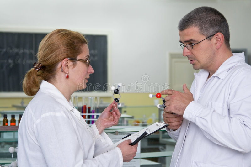 Discussing the experiment royalty free stock image